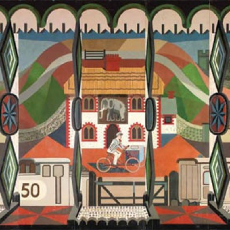 Edward Bawden, The English Pub, 1949 -1951 (detail). Oil on 11 panels, 69 3/8 x 212 1/4 inches (176 x 539 cm)