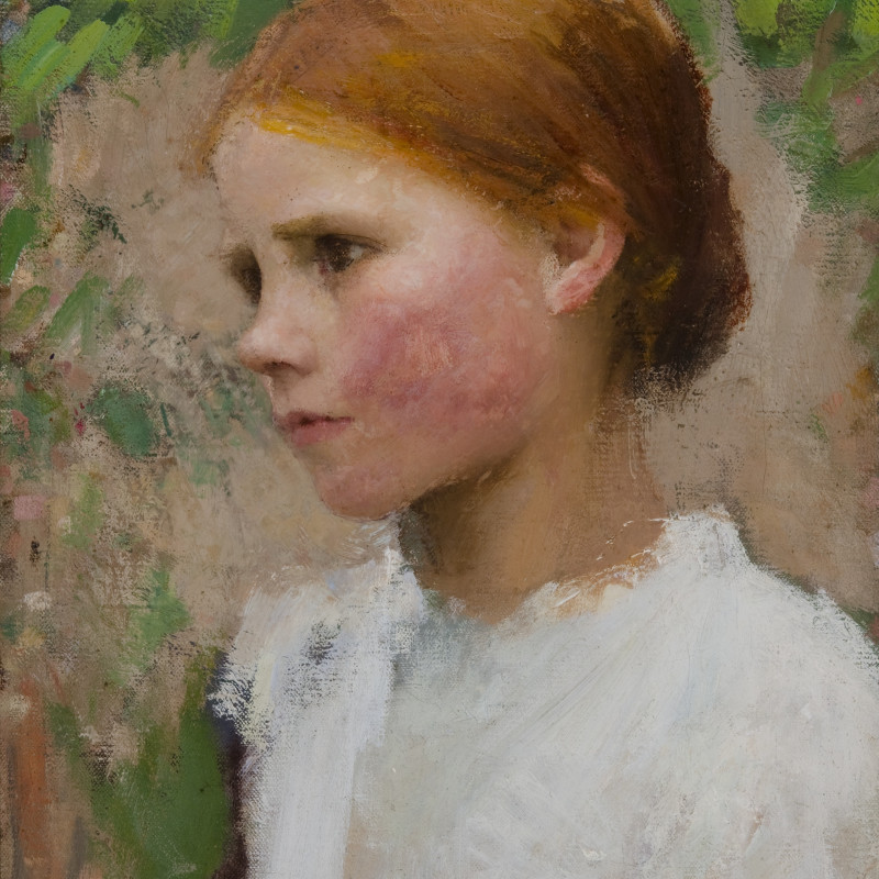 George Clausen, A Village Girl (Rose Grimsdale), 1896 (detail). Oil on canvas, signed lower right, 'G . C L A U S E N ' ; lower left, 'to R. Crafton Green in Friendship, 1896', 16 x 12 inches (40.6 x 30.5 cm)