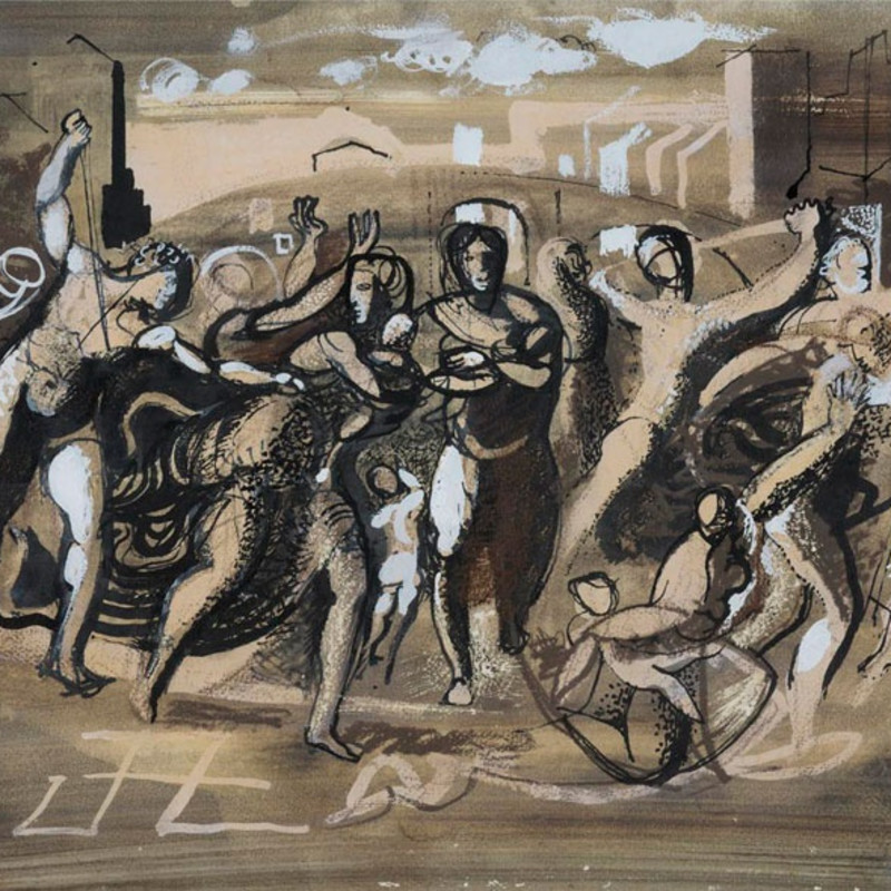 John Piper, Massacre of the Innocents, c.1952 (detail). Pen and ink, watercolour and gouache, signed and dated 'John Piper 1952' bottom right, 13 x 19 inches (33 x 48.3 cm)