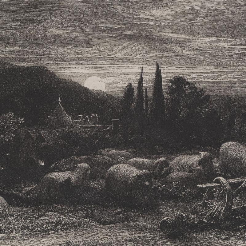 Samuel Palmer, The Rising Moon, 1855 (detail). Etching