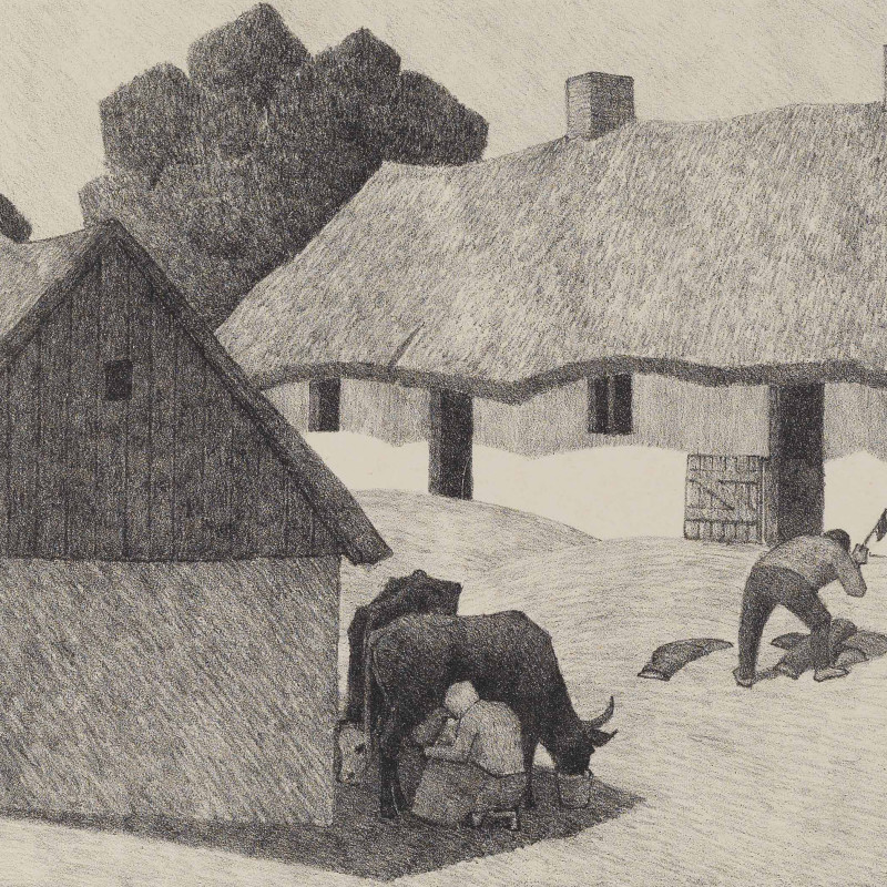 Robert Bevan, A Polish Homestead, 1922 (detail). Lithograph, signed in pencil Robert P Bevan with the artist's monogram stamp, RPB, lower right, 8 1/4 x 10 1/8 inches sheet 13 x 15 inches (33.1 x 38.1 cm)
