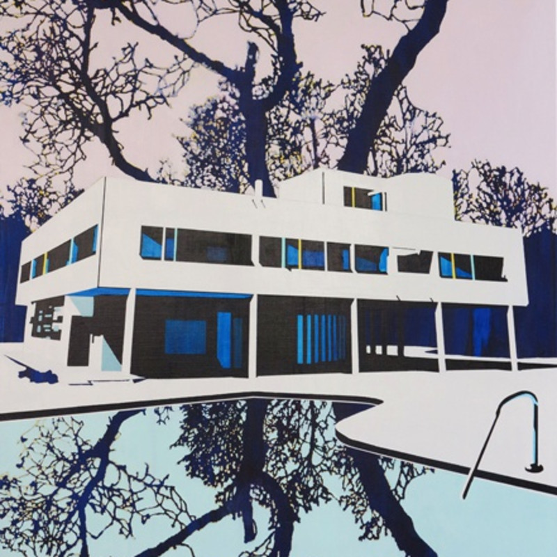 Paul Davies, Displaced Villa III, 2013 (detail). Acrylic on linen, 122 x 91 cm