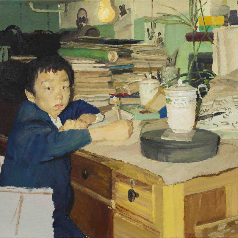 Chi Ming, After School (A Self-Portrait), 2012 (detail). Oil on canvas, 40 x 50 cm