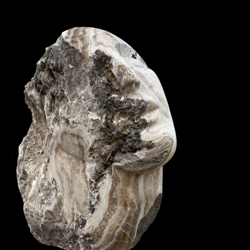 Emily Young, Lost Mountain Head I, 2013. Clastic Igneous Rock, 107 x 56 x 101 cm