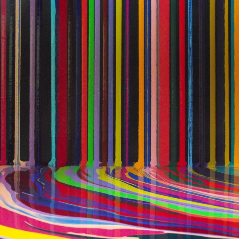 Ian Davenport, Poured Lines: Permanent Yellow, 2007 (detail). Water-based paints on aluminium, 100 x 75 cm