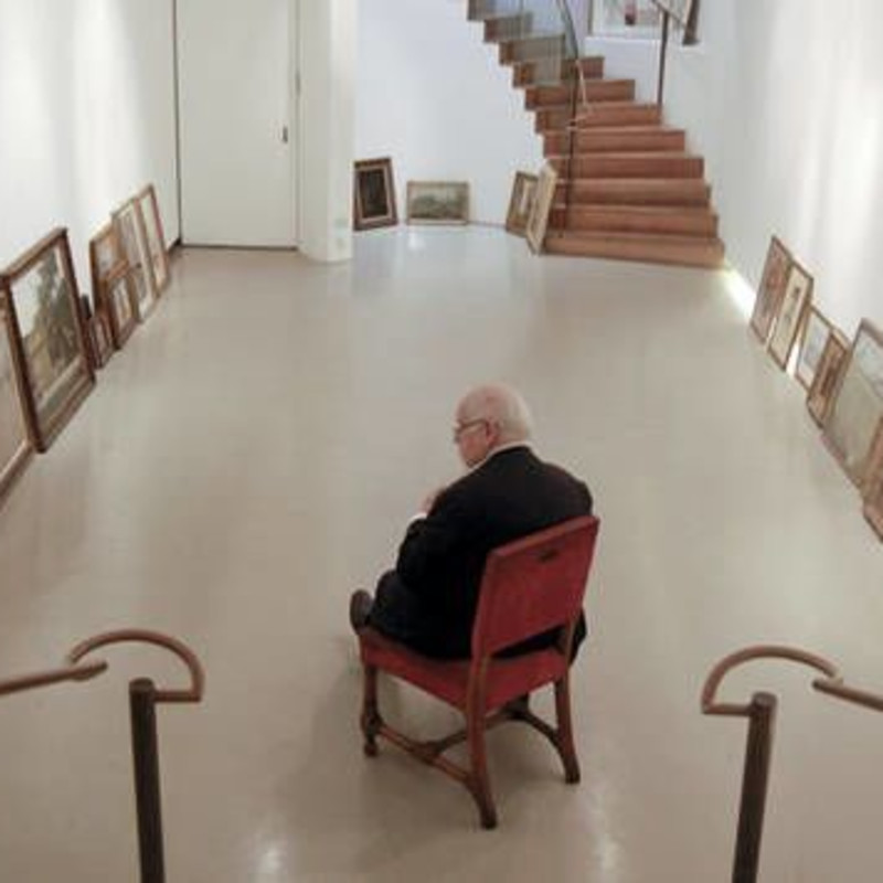 Sir Peter Blake selecting the works for the exhibition, The Fine Art Society, Gallery One, July 2012