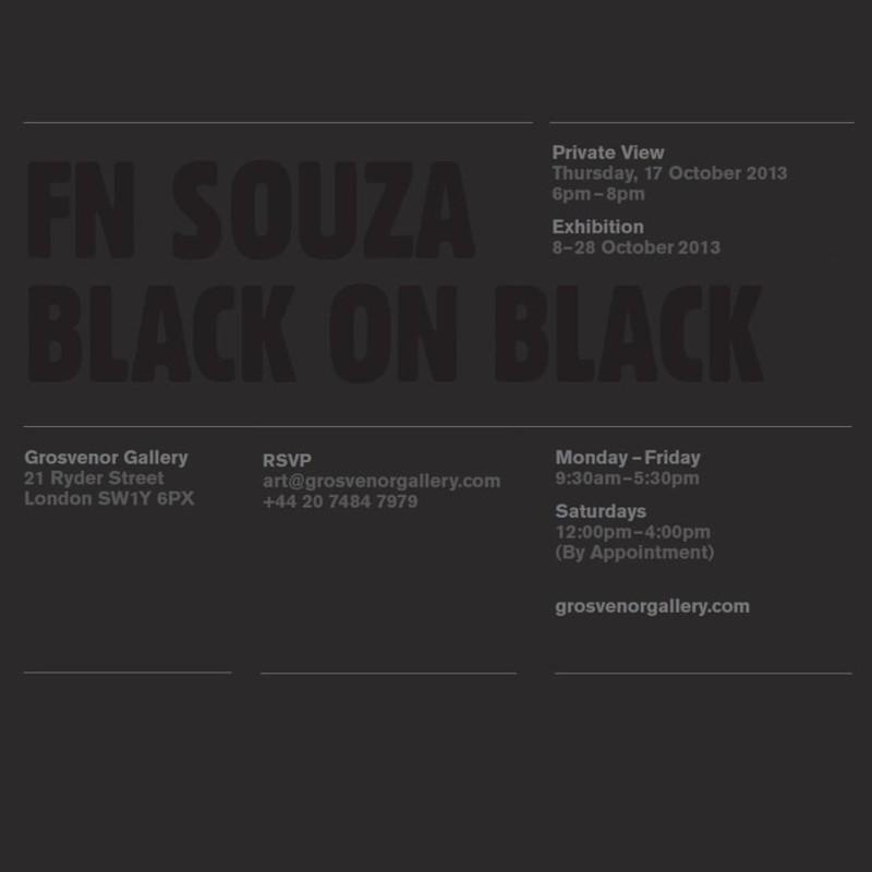 FN Souza, Black on Black, At Grosvenor Gallery