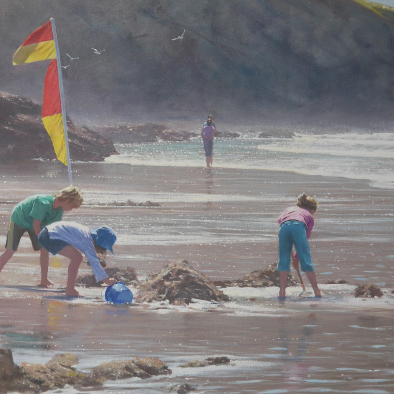 Nicholas St John Rosse RSMA  Absorbed in play