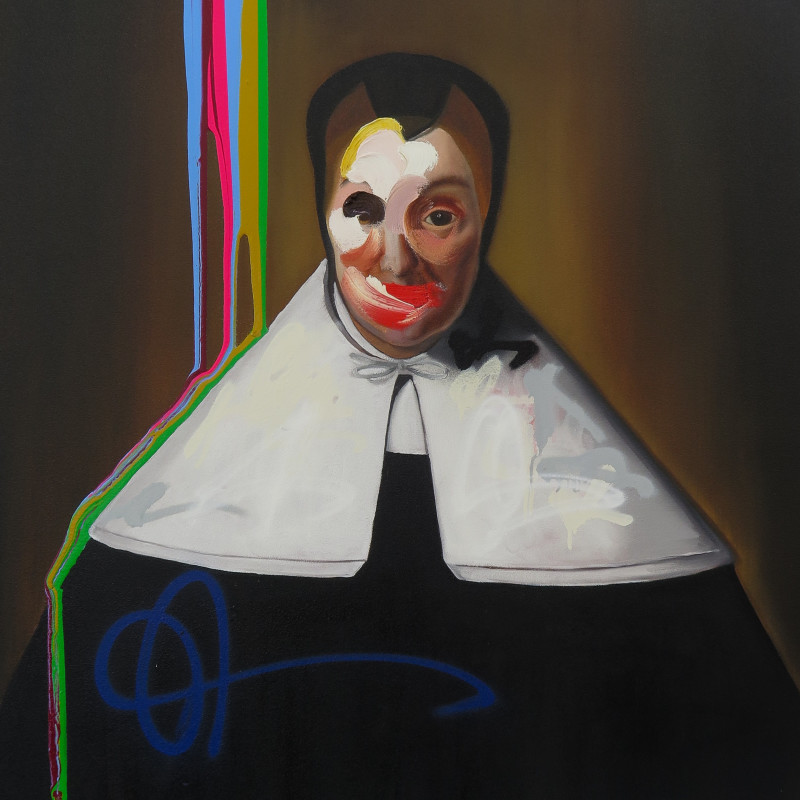 Frans Smit - After Rembrandt, Self Portrait with Neon Stripes