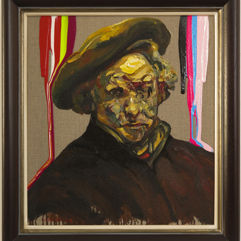 Frans Smit, After Rembrandt, Self Portrait with Neon Stripes, 2018