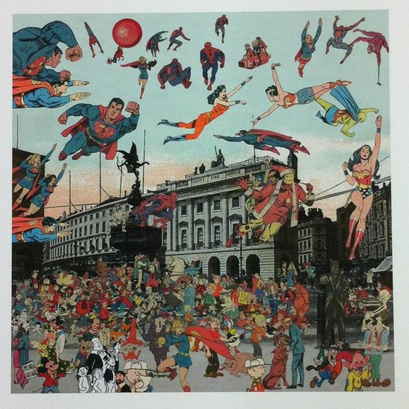 Peter Blake, London - Piccadilly Circus. The Convention of Comic Book Characters
