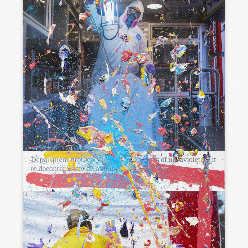 Viral Painting. America's Most Essential Workers, The New York Times (Painted 19 April 2020), Marc Quinn, 2020. Oil paint, gold leaf and pigment print on canvas. 240h x 110w cm. Copyright Marc Quinn studio.