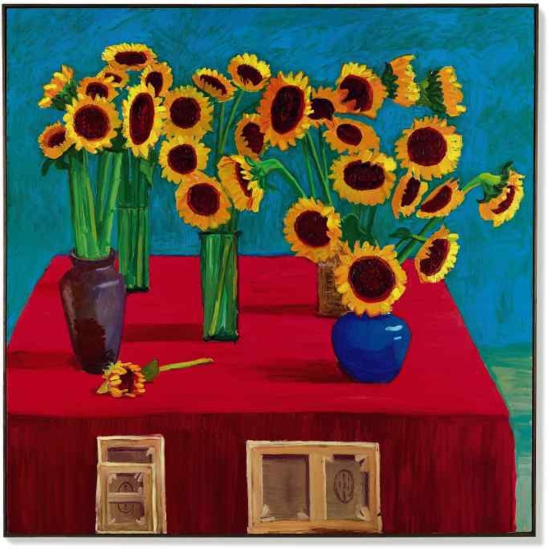 David Hockney, 30 Sunflowers, 1996, oil on canvas, 182.9 x 182.9 cm. Sotheby's.