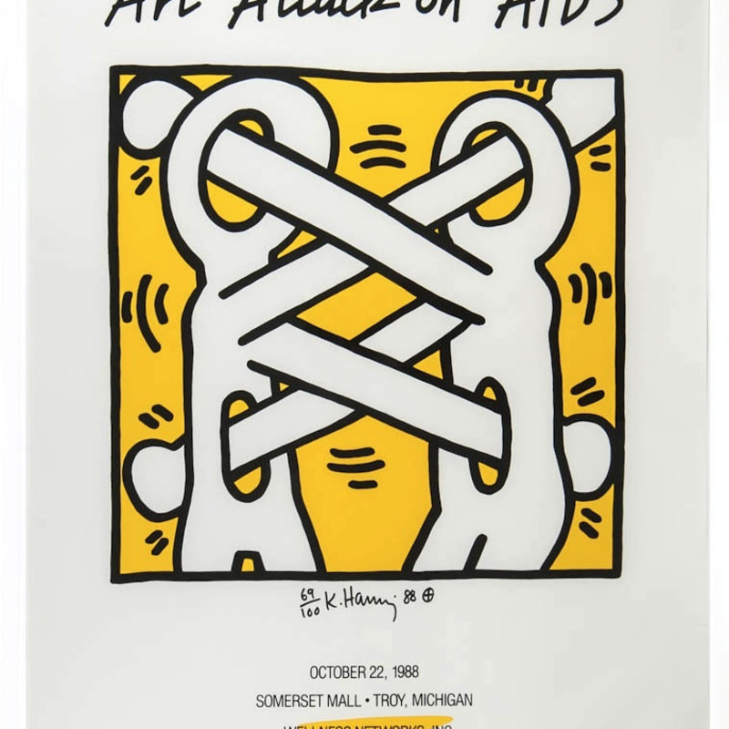 Attack on Aids, 1988 Silkscreen in two colours on poster paper, (Troy, Michigan, October 22nd, 1988. Signed, numbered and dated...