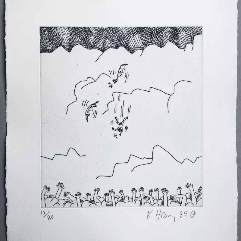Falling from the Sky, 1989 Original etching in black and white, 1989, on wove paper, signed by the artist in...