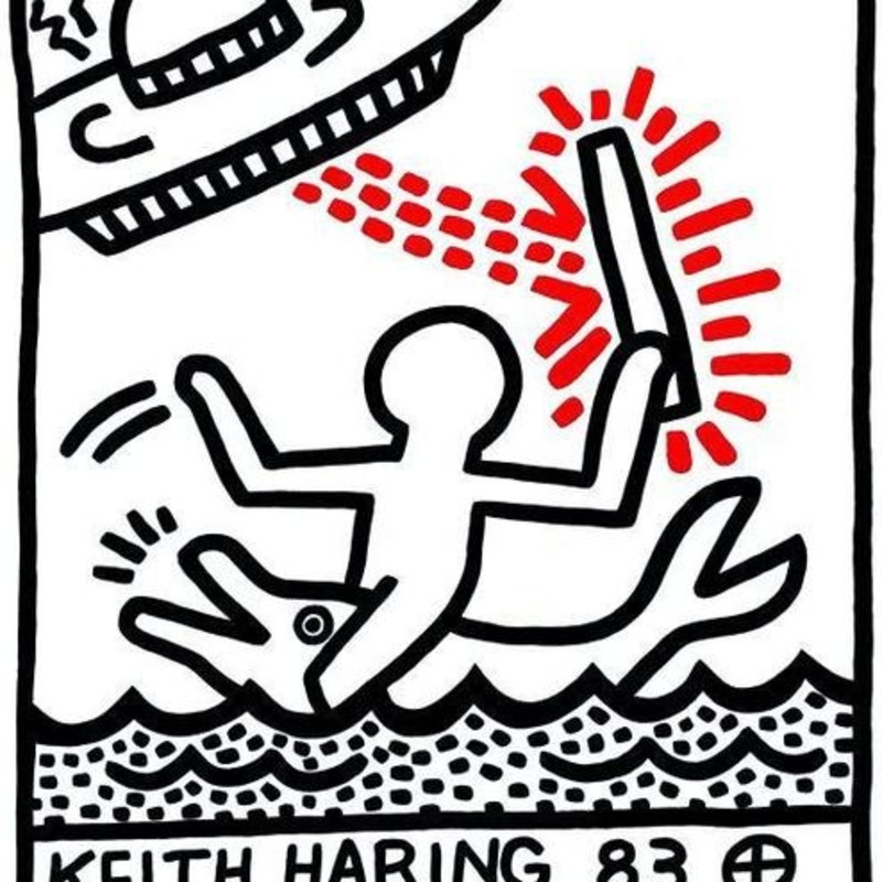 Galerie Watari Tokyo Poster, 1983 Created to promote Haring's first solo exhibition at Galerie Watari in Tokyo, Japan in 1983. Published by On Sundays Publications, Tokyo, Japan from a very small edition of 1.000, printed on Japanese pearlescent paper. 51 x 68.5cm