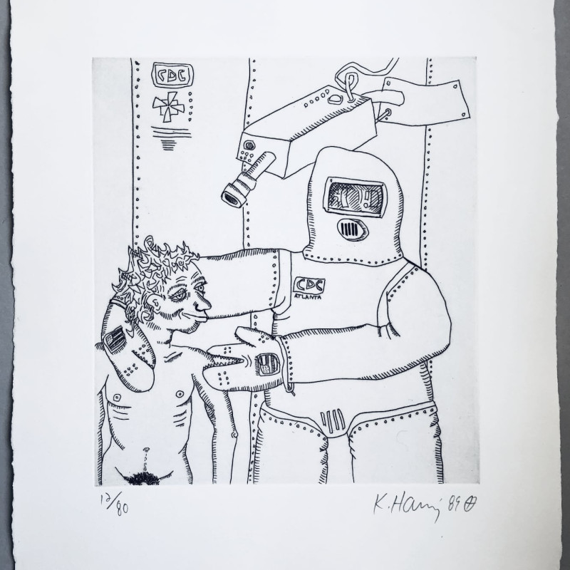 Robot and Man, 1989 Original etching in black and white, 1989, on wove paper, signed by the artist in pencil,...