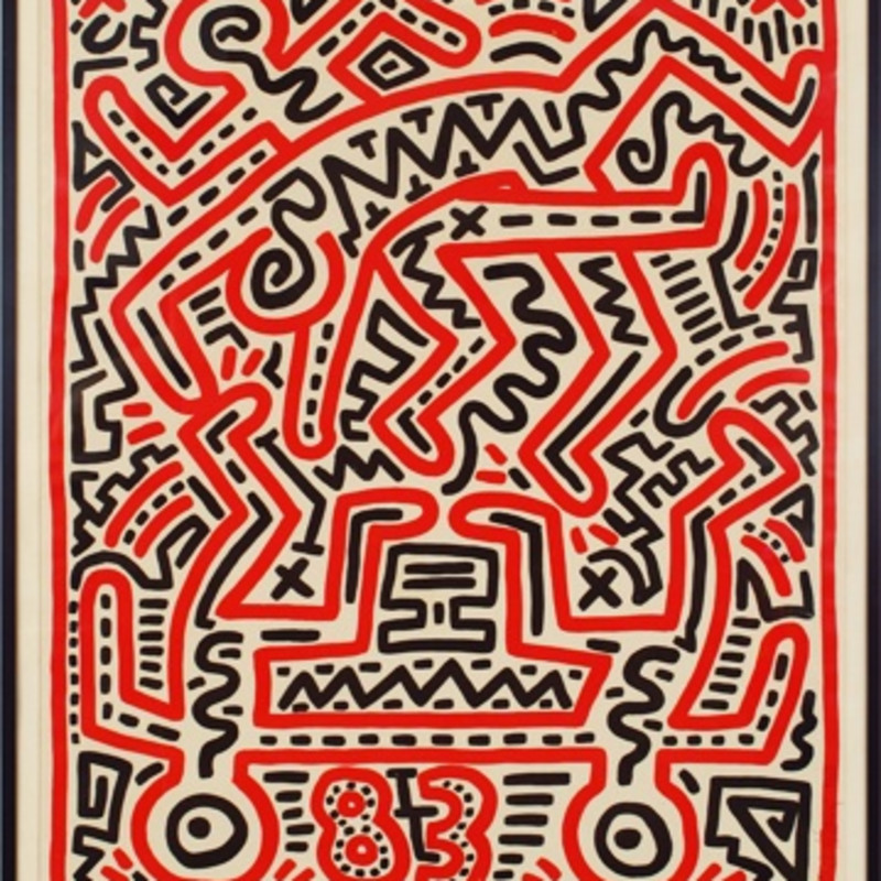 Fun Gallery Poster, 1983 Exhibition poster produced to coincide with Haring's show at the Fun Gallery (NYC). Signed and dated...