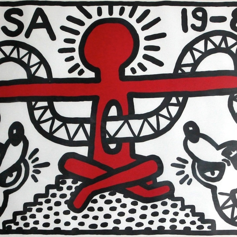 "USA 19-82, 1982 Keith Haring's first editioned print. Signed, numbered and dated, ""3/50 K. Haring 8.82"" by the artist, lower..."