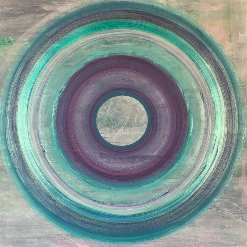 Lisa Sharpe Paintings - Portal Painting - Circles in the Mist (unframed)