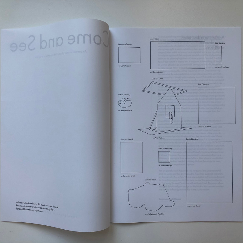 Come and See: An exercise in description in the absence of originals inside page