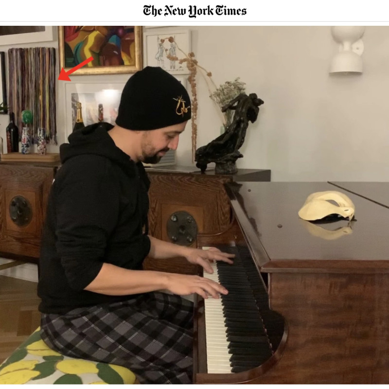"""Monica Delgado painting from """"Drawing a Line"""" series spotted in New York Times article"""