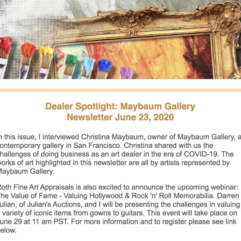 Roth Fine Art Appraisals   Dealer Spotlight: Maybaum Gallery