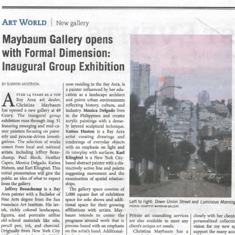 Maybaum Gallery opens with Formal Dimension: Inaugural Group Exhibition