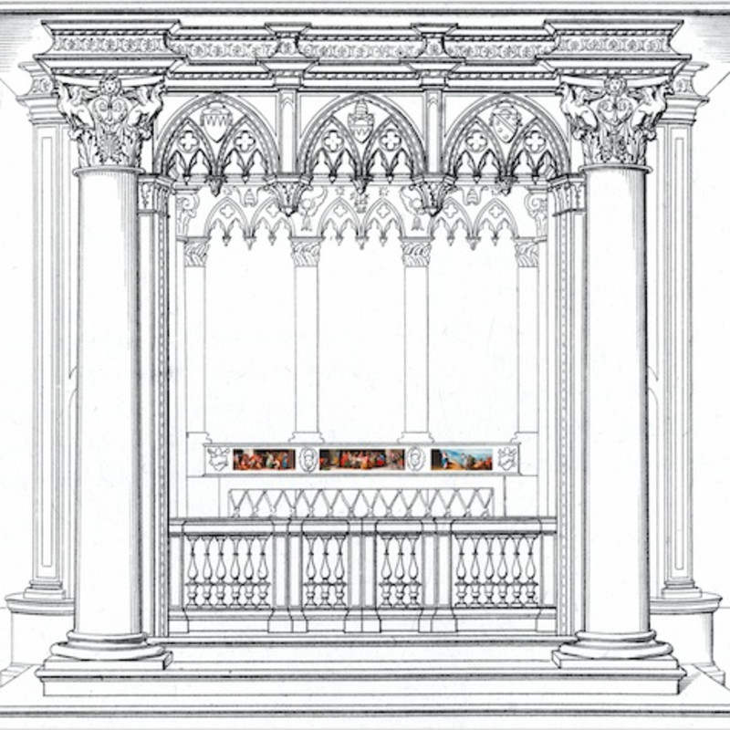 Reconstruction of the papal high altar, based on Giuseppe Bianchi's engraving (1832): three of the five panels are visible in...