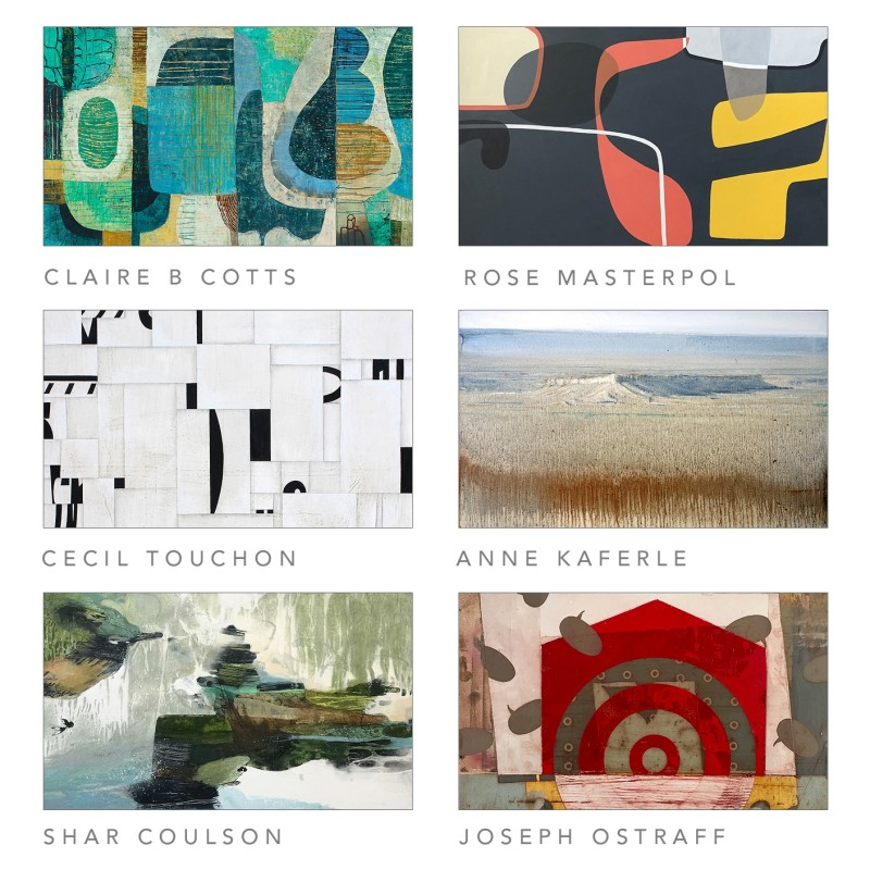 Abstractions Group Exhibition 2019, Shar Coulson, Cecil Touchon, Joseph Ostraff, Claire B Cotts, Rose Masterpol, & Anne Kaferle
