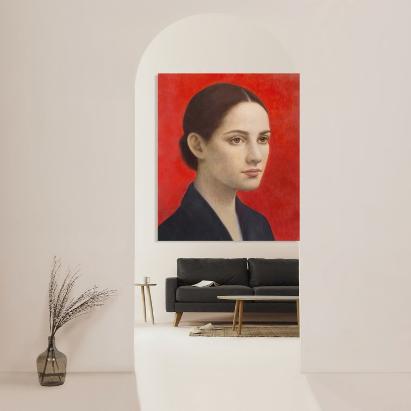 example of virtually installed Aberto Galvez painting in a stock image