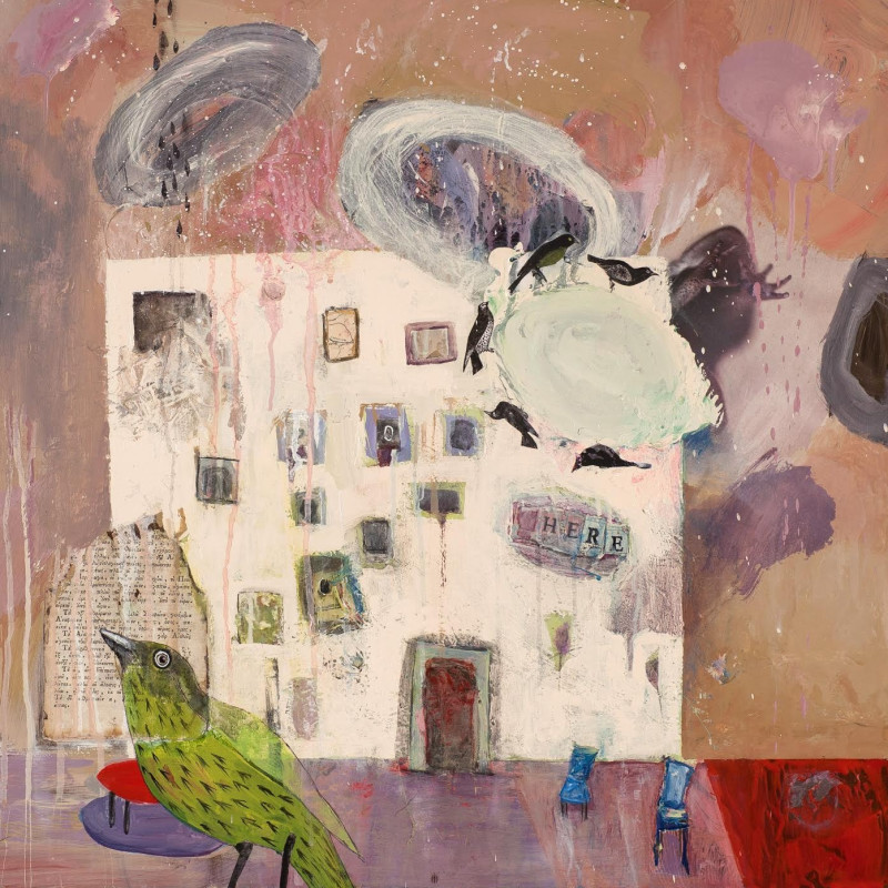 Alexandra Eldridge, Our House, mixed media on panel, 24 x 24 inches