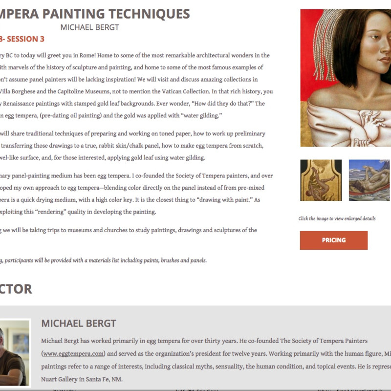 Michael Bergt Egg Tempera Workshop in Rome | Summer 2018