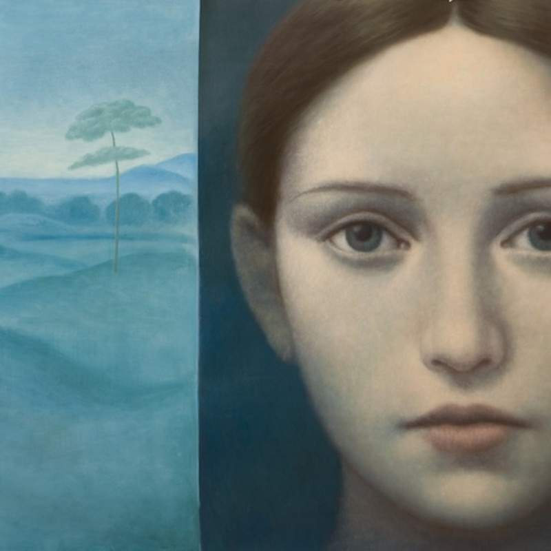 Alberto Gálvez, Azul Giorgione, oil on linen, 48 x 76 inches