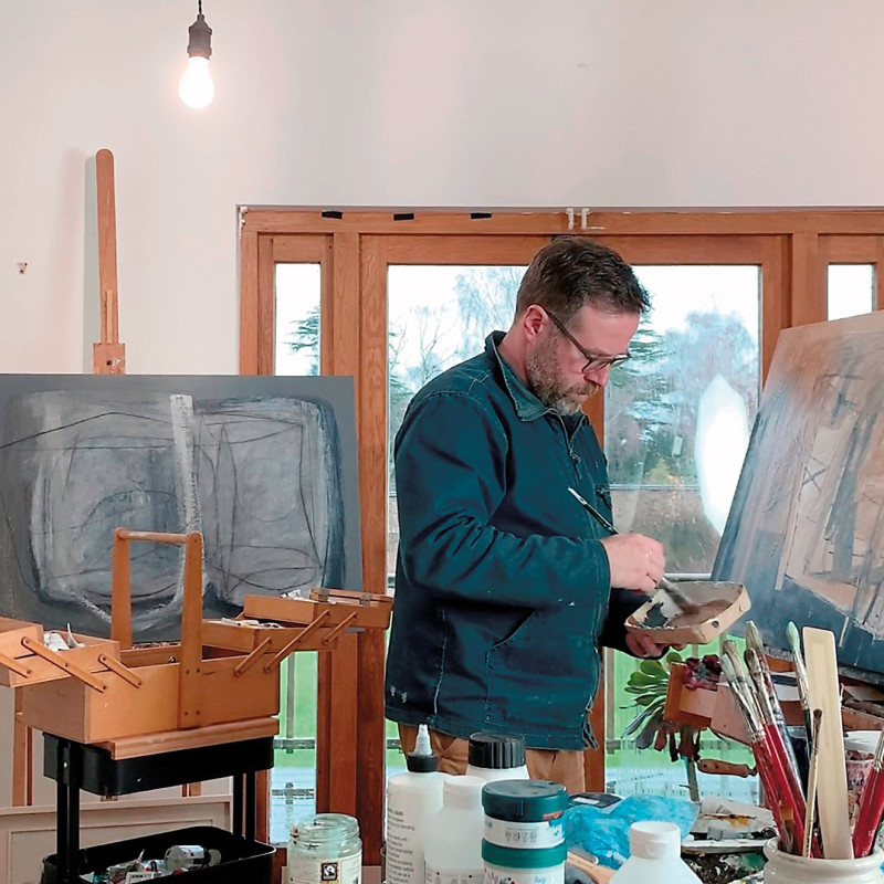 Leigh Davis in his Studio, December 2020. Image © Axis Graphic Design
