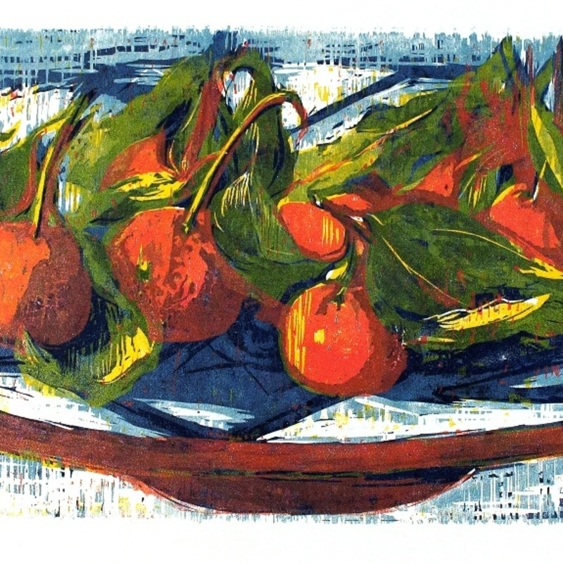 Clementines, hand printed woodcut