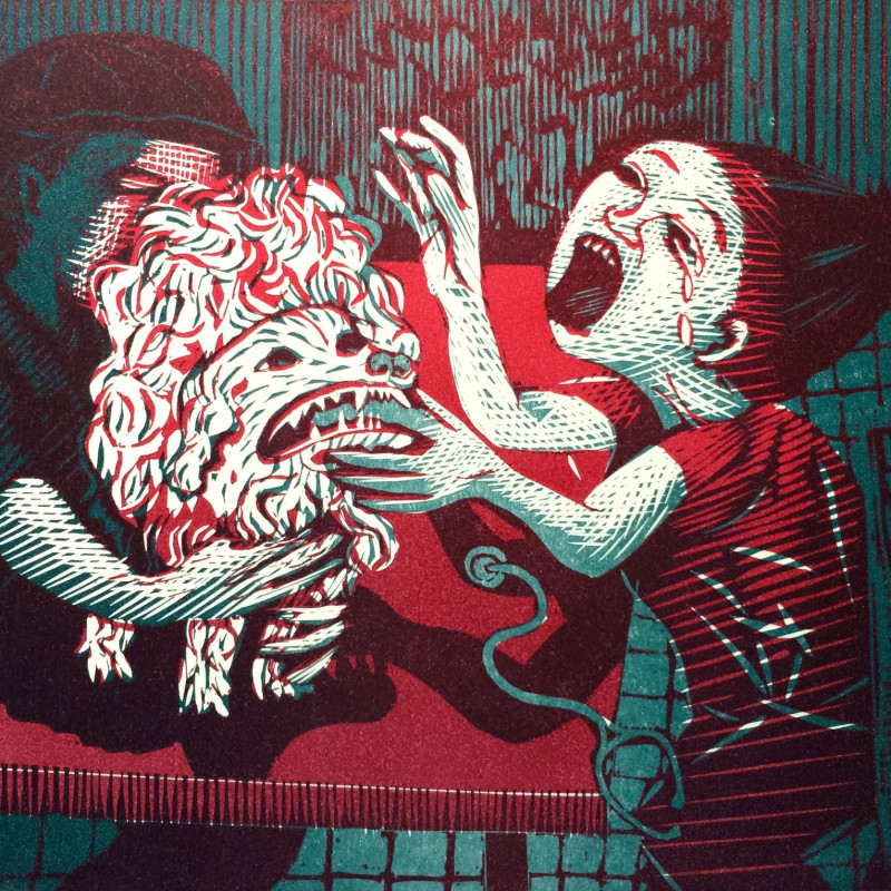 Wuon-Gean Ho, The Scream, linocut
