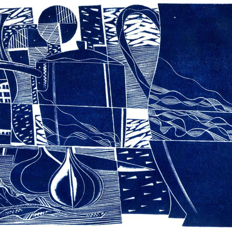 Arrangement in Blue, wood engraving