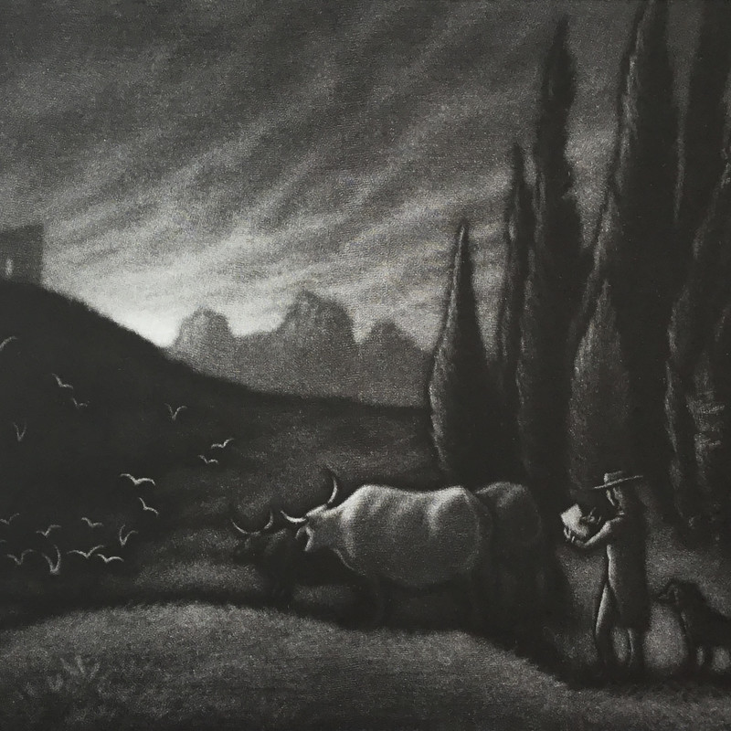Mychael Barratt PRE, Samuel Palmer's Dog, final state mezzotint