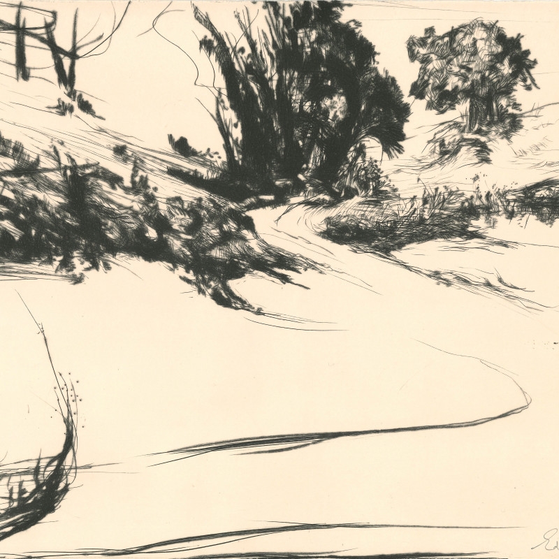 Edward Twohig ARE, Between Pewsey and Marlborough, drypoint from observation