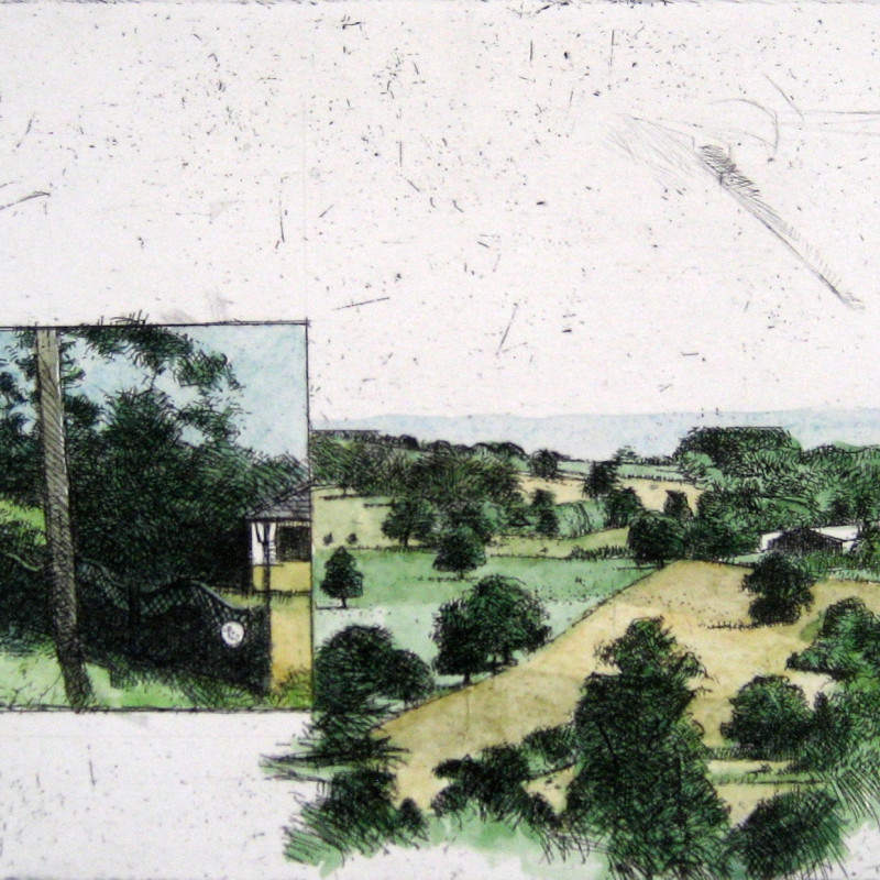 Michael Middleton RWS RE, Two Small Landscapes, hand-coloured etching