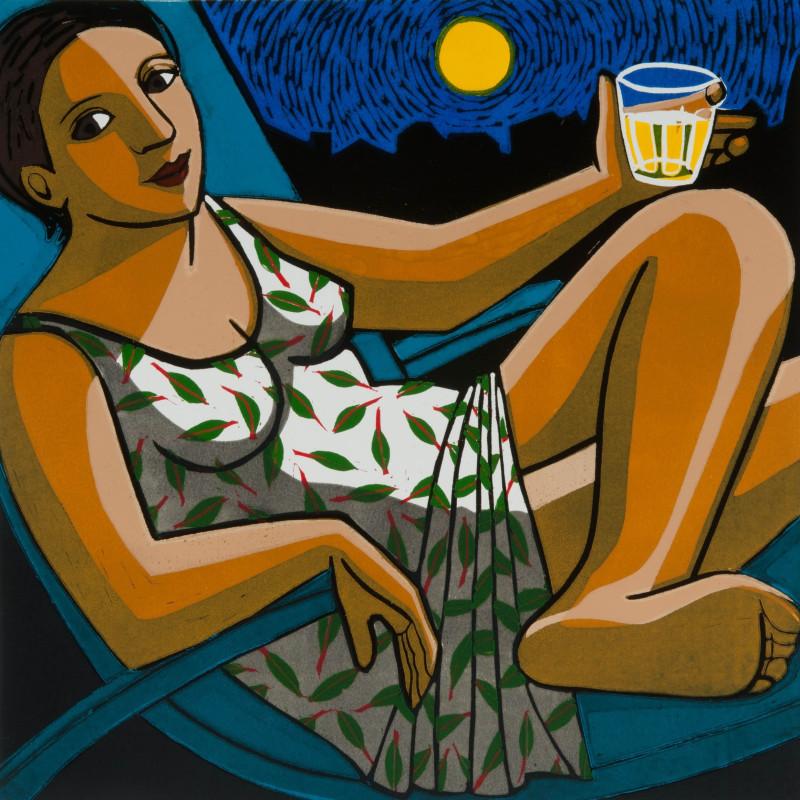 Anita Klein PPRE Hon RWS, Summer Moon, linocut