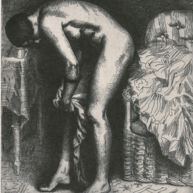 'Putting on Tights' by Dame Laura Knight DBE RA RWS from 'No Day without a Line: The History of the Royal Society of Painter-Printmakers 1880-1999' book cover.