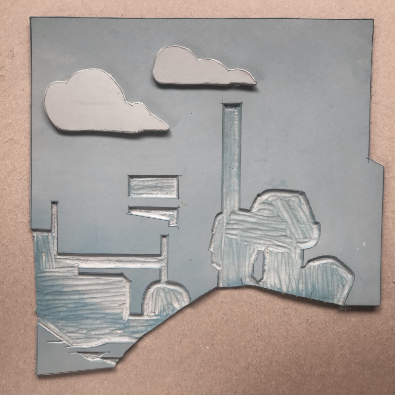 linocut section of background and clouds