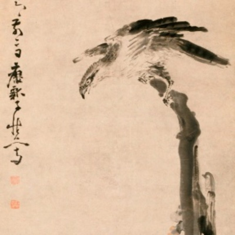 Huang Shen - Eagle on a Tree Stump, 1755