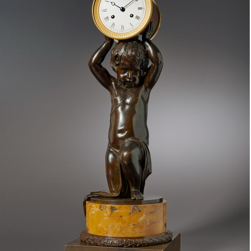 Breguet - A figural clock of eight day duration of a kneeling putti by Breguet, Paris, date 1820-25