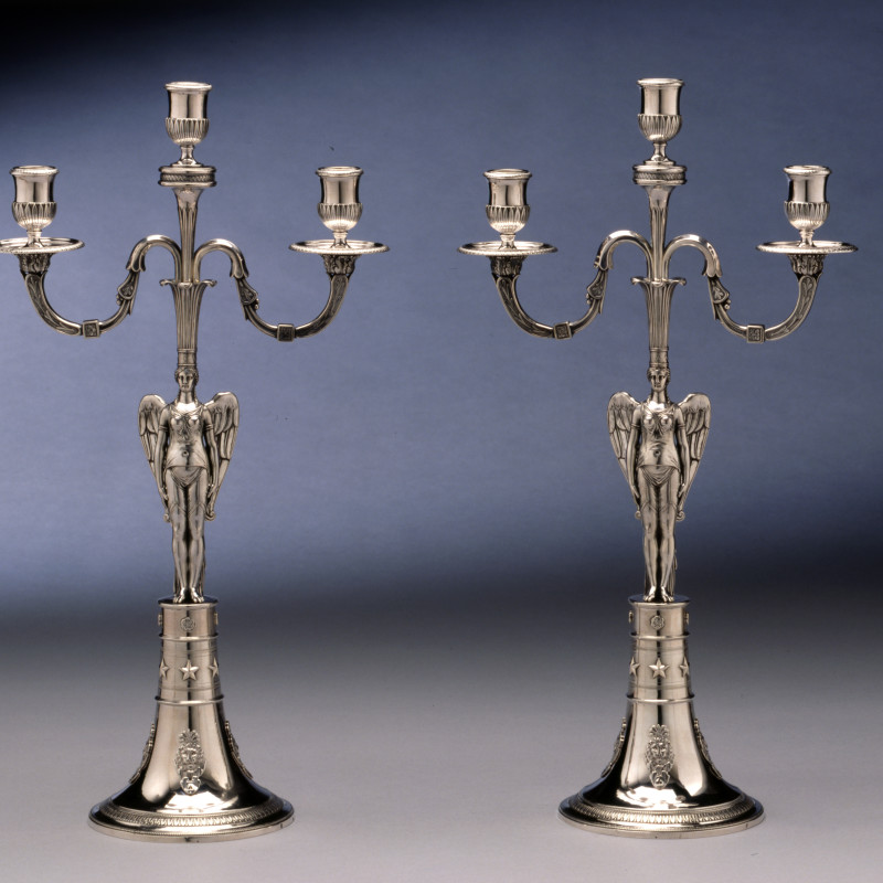 Abel-Etienne Giroux - A pair of Empire three light candelabra by Abel-Etienne Giroux, Paris, date circa 1805