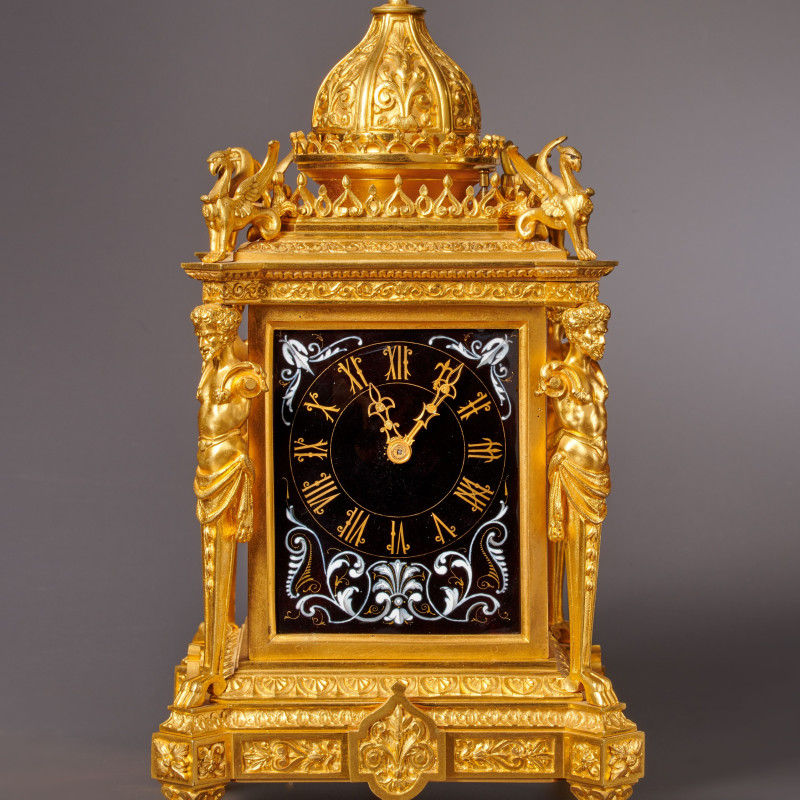 Louis Fernier - A Napoleon III musical mantel clock with grande and petite sonnerie of eight day duration by Louis Fernier, Paris, date circa 1870