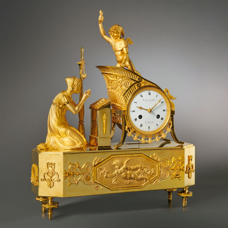 Joseph Guillet - A Charles X gilt bronze mantel clock by Joseph Guillet, Grenoble, date circa 1810