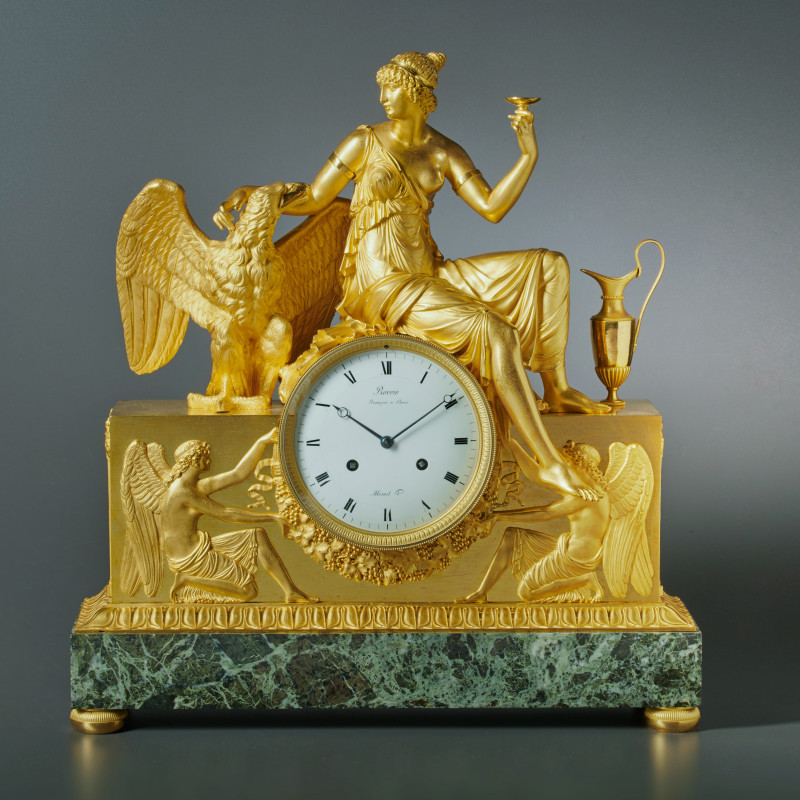 André-Antoine Ravrio - An Empire mantel clock of eight day duration by Mesnil à Paris, housed in a case by André-Antoine Ravrio, Paris, date circa 1810